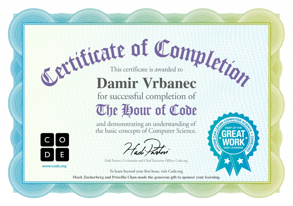 Certificate of completion 2 - The Hour of Code - Great Work